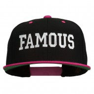 Famous Embroidered Two Tone Snapback Cap - Black Pink
