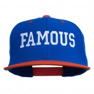 Famous Embroidered Two Tone Snapback Cap - Royal Orange