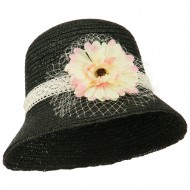 Wheat Braid Flower Veil Dress Hat - Black