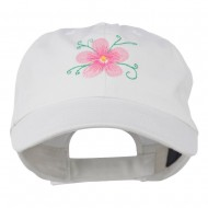 Single Flower Embroidered Low Profile Pet Spun Washed Cap - White