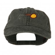 Fishing Walleye Lure Embroidered Washed Cap - Black