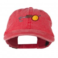 Fishing Walleye Lure Embroidered Washed Cap - Red