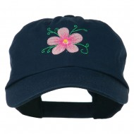 Single Flower Embroidered Low Profile Pet Spun Washed Cap - Navy
