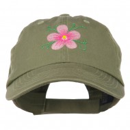 Single Flower Embroidered Low Profile Pet Spun Washed Cap - Olive