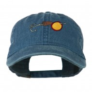 Fishing Walleye Lure Embroidered Washed Cap - Navy