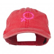 Female Symbol Embroidered Washed Cap - Red