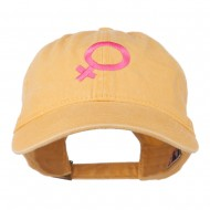 Female Symbol Embroidered Washed Cap - Yellow