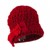 Girl's Acrylic Beanie with Crushed Large Velvet Bow - Red