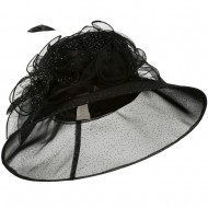 Glitter Bow Accent Organza Hat - Black