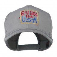 God Bless the USA Embroidered Cap - Grey