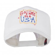 God Bless the USA Embroidered Cap - White