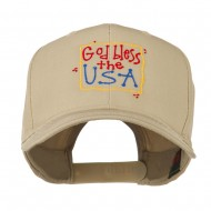 God Bless the USA Embroidered Cap - Khaki