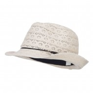 Girl's Cotton Lace Fedora - Cream