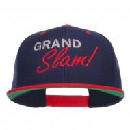 Grand Slam Embroidered Snapback Cap - Navy Red
