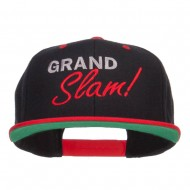 Grand Slam Embroidered Snapback Cap - Black Red