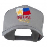 God Bless Texas Embroidered Cap - Grey