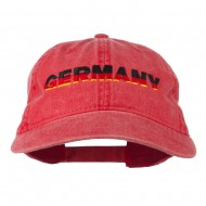 Germany Embroidered Washed Pigment Dyed Cap - Red