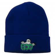 Halloween Ghost Boo Embroidered Long Beanie - Royal