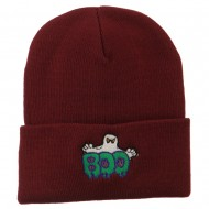 Halloween Ghost Boo Embroidered Long Beanie - Maroon