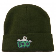 Halloween Ghost Boo Embroidered Long Beanie - Olive