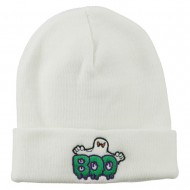 Halloween Ghost Boo Embroidered Long Beanie - White