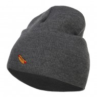 Mini Hot Dog Embroidered Short Beanie - Dk Grey