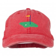 Golf Flag on the Green Embroidered Washed Cap - Red