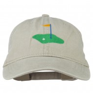 Golf Flag on the Green Embroidered Washed Cap - Stone