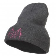 Halloween Hiss Off Embroidered Long Beanie - Dk Grey