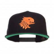 Griffin Head Embroidered Snapback Cap - Black