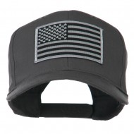 Grey American Flag Patched High Profile Cap - Charcoal Grey