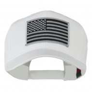 Grey American Flag Patched High Profile Cap - White