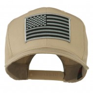 Grey American Flag Patched High Profile Cap - Khaki