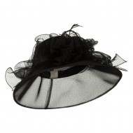 Glitter Big Bow Organza Hat - Black