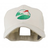 Golf Flag on the Green Embroidered Cap - Stone