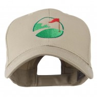 Golf Flag on the Green Embroidered Cap - Khaki