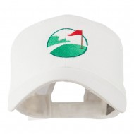 Golf Flag on the Green Embroidered Cap - White