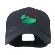 Golf Flag on the Green Embroidered Cap - Navy