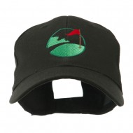 Golf Flag on the Green Embroidered Cap - Black