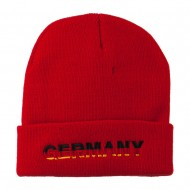 Germany Embroidered Long Beanie - Red