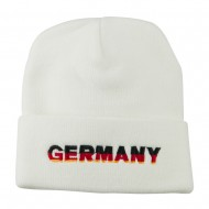 Germany Embroidered Long Beanie - White