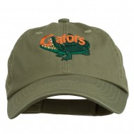 Gators Mascot Embroidered Low Profile Washed Cap - Olive