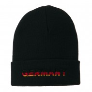 Germany Embroidered Long Beanie - Navy