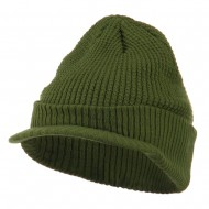 Grid Pattern Cuff Beanie with Visor - Olive