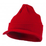 Grid Pattern Cuff Beanie with Visor - Red