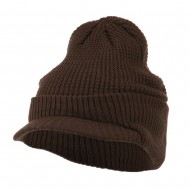 Grid Pattern Cuff Beanie with Visor - Brown