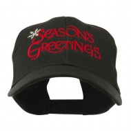 Season's Greetings with Snowflake Embroidered Cap - Black