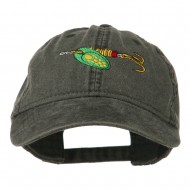 Fishing Green Spinner Embroidered Washed Cap - Black