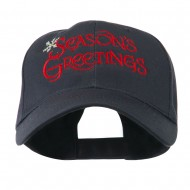 Season's Greetings with Snowflake Embroidered Cap - Navy