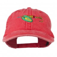 Fishing Green Spinner Embroidered Washed Cap - Red